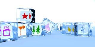 求愉快的冰新年度的立方 免版税库存照片
