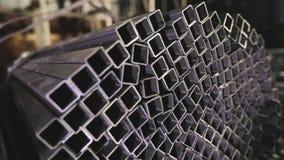 求积分法钢外形管子,金属化skal 清洗,金属仓库,金属外形堆积在行 股票视频