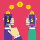 汇款操作通过手机 送和接受m 向量例证