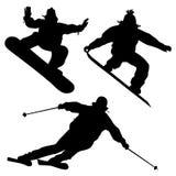 汇集。挡雪板和滑雪者 免版税库存图片