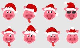 汇集与圣诞老人帽子的圣诞节猪 标志2019新年 库存例证