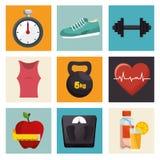汇集健身运动器材象 免版税图库摄影