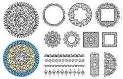 汇集元素圆的样式,方形的框架,刷子 免版税图库摄影