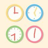 汇集壁钟样式 在平的样式的象时钟 免版税图库摄影