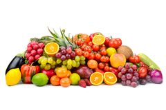 汇集多彩多姿的有用的蔬菜、水果和莓果我 免版税库存图片