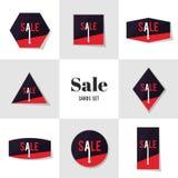 汇集多角形形状和箭头销售卡片 库存图片