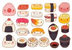 汇集套可爱的婴孩日本食物乱画象 免版税图库摄影