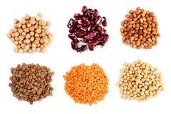 汇集套各种各样的干肾脏豆类豆,大豆,扁豆,鸡豆紧密隔绝在白色背景 免版税图库摄影