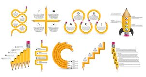 汇集教育Infographics模板 企业介绍或信息横幅的Infographics 皇族释放例证