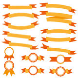 汇集橙色丝带横幅 免版税库存照片