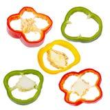 汇集甜椒在白色背景隔绝的胡椒切片 免版税库存照片