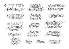 汇集用16个假日在行情上写字的圣诞节手 向量例证