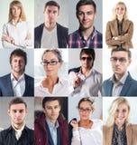 汇集的不同许多愉快的微笑的年轻人 免版税库存照片