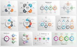 汇集的五颜六色infographic可以为工作流布局,图,数字选择,网络设计使用 向量例证