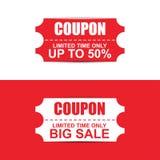 汇集红色和大减价优惠券 免版税库存图片