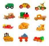 汇集老木五颜六色的汽车卡车戏弄模型 免版税图库摄影