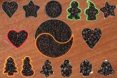 汇集集合咖啡豆 免版税库存图片