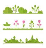 汇集集合平的象树,庭院灌木 库存例证
