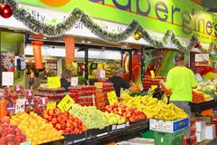 汇集结果实蔬菜水果商阿德莱德,澳大利亚 免版税库存照片