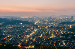 汉城市地平线,韩国日落  图库摄影