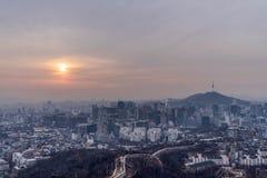 汉城市韩国在冬天 免版税图库摄影