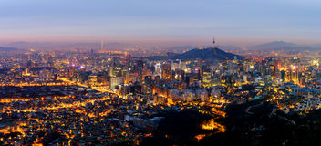 汉城市,韩国全景  库存照片