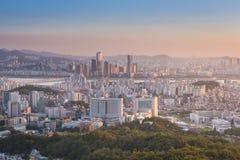汉城市,韩国日落  免版税库存图片