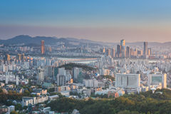 汉城市,韩国日落  图库摄影
