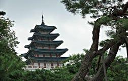 汉城故宫博物院上面 免版税库存照片