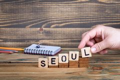 汉城,许多数百万人居住的一个城市在韩国 库存照片