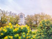 汉城,韩国- 2018年4月14日:旅游参观的Ehwa妇女大学欧洲风格的大厦 这是第一妇女univ 库存图片