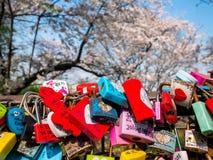 汉城,韩国- 2018年4月16日:爱钥匙和樱花namsan山在夏季在汉城塔,韩国 免版税库存照片