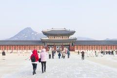 汉城,韩国- 2017年1月17日:景福宫宫殿,著名 库存照片
