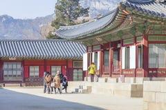 汉城,韩国- 2017年1月17日:景福宫宫殿,著名 免版税库存照片