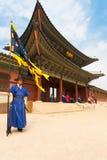 蓝色卫兵旗子Gyeongbokgung宫殿入口v 库存图片