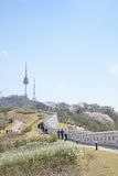 汉城,韩国- 2014年4月04日:Namsan看法和N在Seo耸立 库存图片