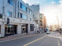 汉城,韩国- Itaewon 10月22日2017年商务区 图库摄影