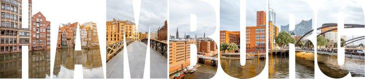 汉堡信件用图片填装了从汉堡市 免版税库存图片