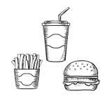 汉堡包、炸薯条和苏打杯子 库存图片