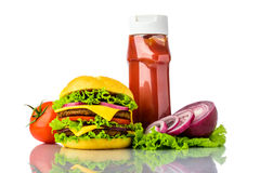汉堡包、菜和番茄酱 免版税库存图片