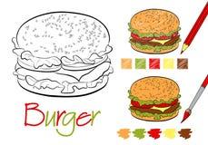 汉堡包书的着色页与着色的例子与铅笔和油漆的 手拉的样式 五颜色 库存例证