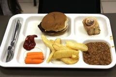 汉堡包和油炸物一顿简单的膳食在塑料盘子 免版税库存照片