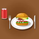 汉堡包和碳酸钠 免版税库存照片