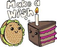 汉堡包和蛋糕T恤杉印刷品 免版税库存照片