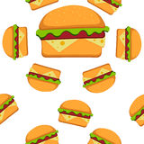 汉堡包样式在平的样式的传染媒介例证 无缝背景的快餐 传染媒介例证您的EPS 10 向量例证