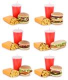 汉堡包汇集集合乳酪汉堡和油炸物菜单膳食喝 图库摄影