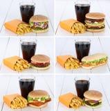 汉堡包汇集集合乳酪汉堡和油炸物组合菜单的膳食 免版税库存图片