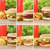 汉堡包汇集集合乳酪汉堡和油炸物组合菜单的膳食 免版税库存照片