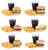 汉堡包汇集集合乳酪汉堡和炸薯条菜单膳食 免版税库存照片