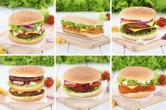 汉堡包汇集集合乳酪汉堡新鲜的牛肉葱蕃茄 免版税图库摄影